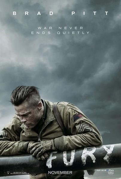 A poster of the film 'Fury'. The most popular title leaked online has been the studio's World War 2 film, 'Fury.'