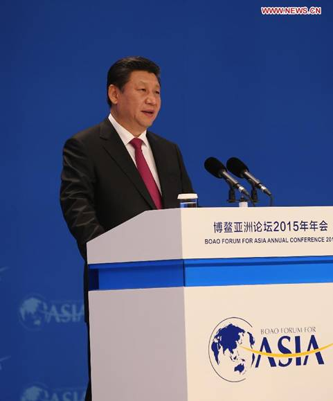 Chinese President Xi Jinping delivers a keynote speech at the opening plenary of the 2015 annual conference of the Boao Forum for Asia in Boao, south China's Hainan Province, on March 28, 2015. [Photo/Xinhua]
