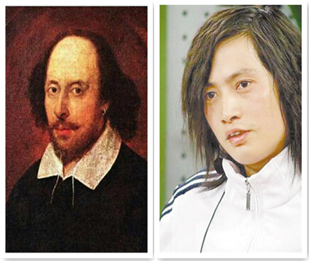 Chinese writer Zhang Yiyi (R) gets US$225,800 plastic surgery to look like Shakespeare.