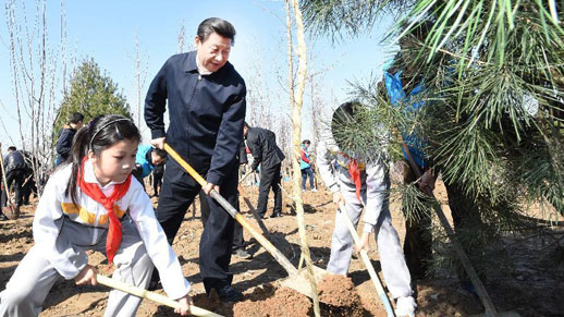 Top CPC and state leaders attend tree planting event in Beijing