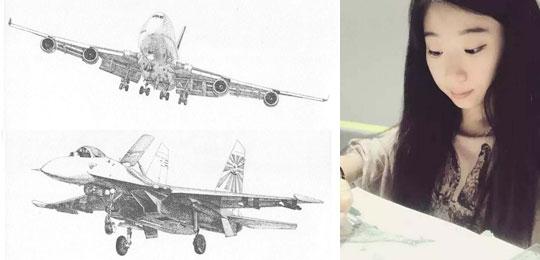 南航美女大学生再发飞机逼真手绘图