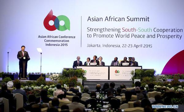 4月22日,国家主席习近平在印度尼西亚首都雅加达出席亚非领导人会议开幕式并发表讲话。[新华社]