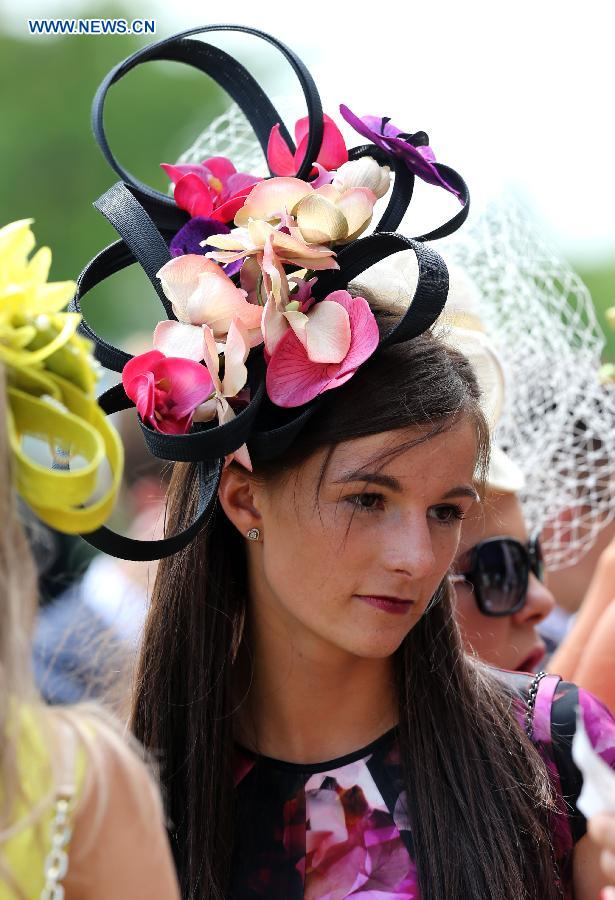 A lady wearing a fascinator is seen during day 2 of Royal Ascot 2015 in  Ascot 7bb8bd70218