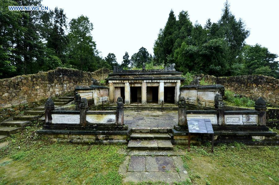 Photo taken on June 8, 2015 shows a Tusi tomb at the Tangya Tusi site in central China's Hubei Province.