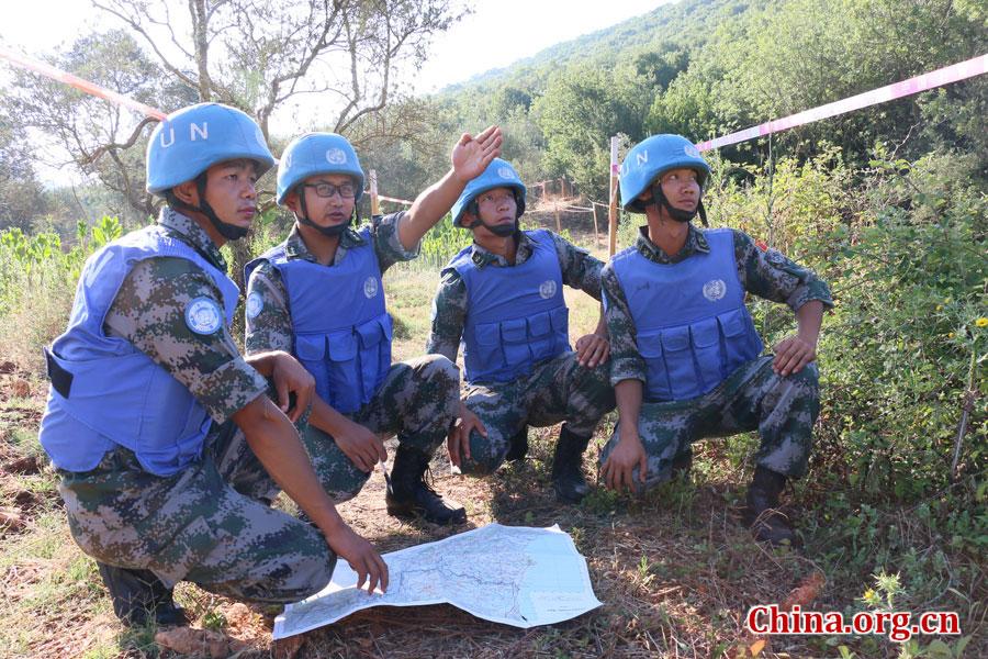 排长王云龙(左2)安排部署当天排雷区域。[中国网图片库 叶洋萍 摄]
