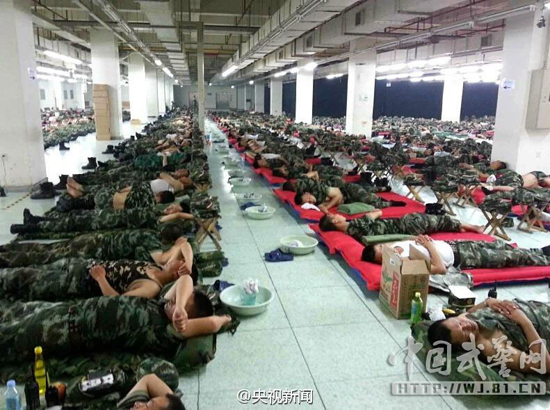 Tianjin Firefighters Sleep On Floor China Org Cn