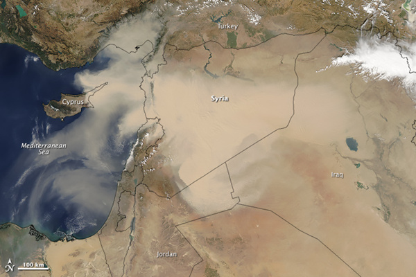 Satellite images of dust storm over Middle East Chinaorgcn
