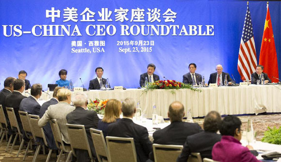 Chinese President Xi Jinping(C back) speaks at a China-U.S. CEO roundtable discussion in Seattle, the United States, Sept. 23, 2015. [Photo/Xinhua]