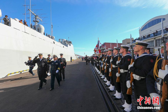 A Chinese navy fleet arrives in Gdynia Wednesday for a five-day friendly tour of Poland. [Photo/Chinanews.com]