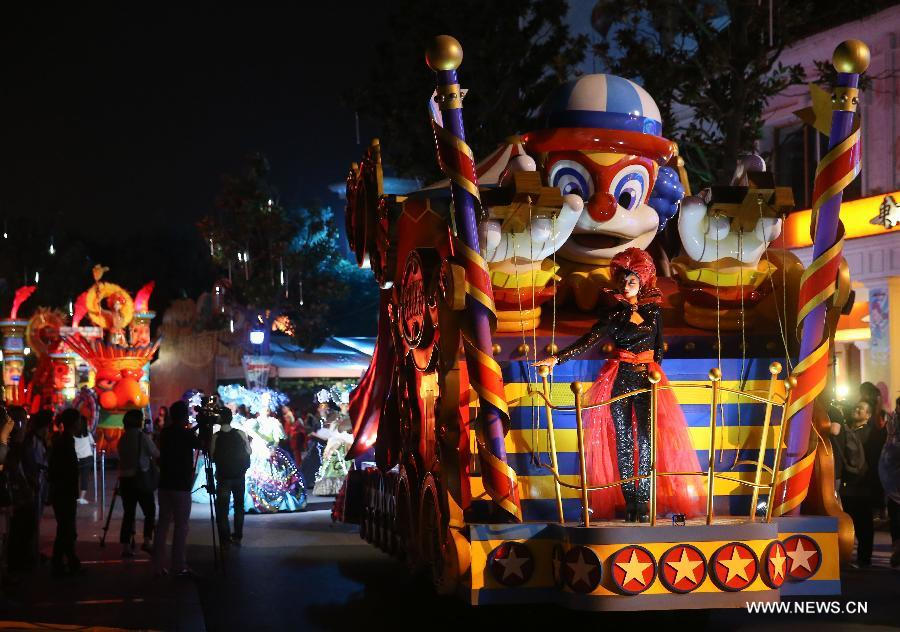 people perform during a halloween parade at the happy valley amusement park in east china