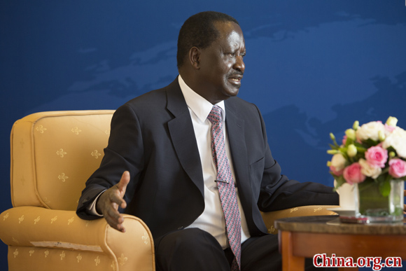 Former Kenyan Prime Minister Raila Odinga during his interview with China.org.cn on Oct. 18, in Beijing. [Photo by Yang Jia/China.org.cn]