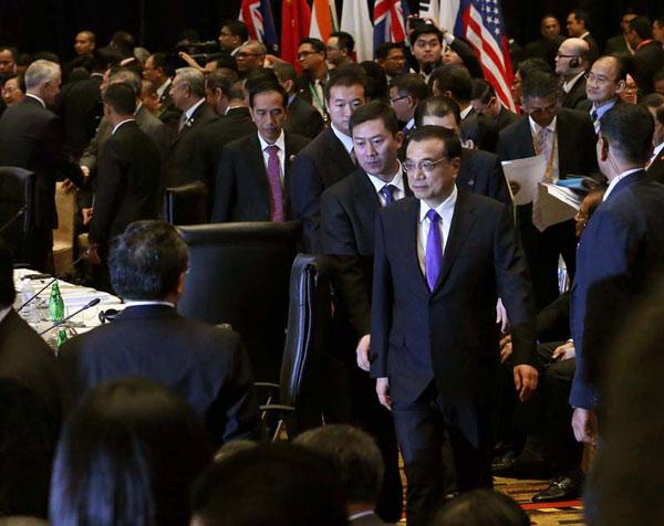 11月22日,国务院总理李克强在吉隆坡国际会议中心出席第十届东亚峰会。[新华社]