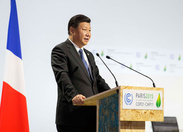 Chinese President Xi Jinping delivers a speech for the opening day of the World Climate Change Conference 2015 (COP21) at Le Bourget, near Paris, France, November 30, 2015.[Photo/Xinhua]