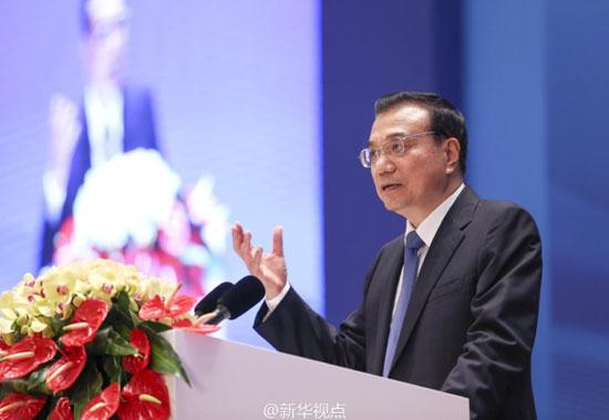 11月24日,李克强总理在中国-中东欧国家第五届经贸论坛开幕式上致辞。[新华网]
