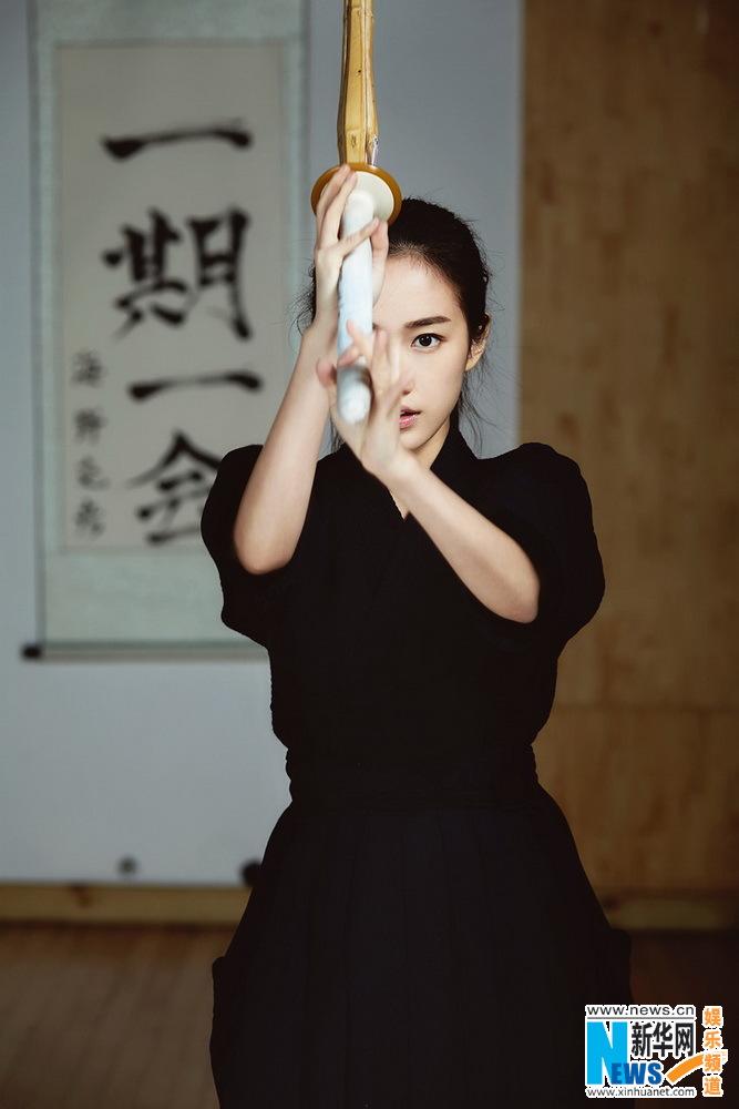 Actress Liu Meihan poses for kendo shots - Xinhua