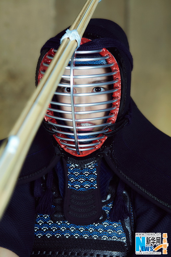 Actress Liu Meihan poses for kendo shots   China
