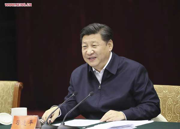 Chinese President Xi Jinping holds a symposium on improving the development of the Yangtze River Economic Belt in Southwest China's Chongqing municipality, Jan 5, 2016. Xi made an inspection tour in Chongqing from Jan 4 to 6. [Photo/Xinhua]