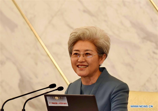 Fu Ying, spokesperson for the fourth session of China's 12th National People's Congress (NPC), answers questions at a press conference on the session at the Great Hall of the People in Beijing, capital of China, March 4, 2016. The fourth session of the 12th NPC is scheduled to open in Beijing on March 5. [Xinhua]
