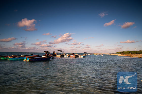 This photo taken on Dec. 11, 2015 shows uniquely beautiful winter scenery of the Zhaoshu Island in the South China Sea. [Photo/Xinhua]