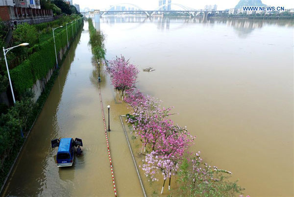 A vehicle is trapped on a flooded road along the Liujiang River in Liuzhou, South China's Guangxi Zhuang Autonomous Region.