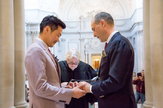 Senior diplomat Hanscom Smith (L) married his Chinese male partner Lyu Yingzong in San Francisco, California during his holiday leave.