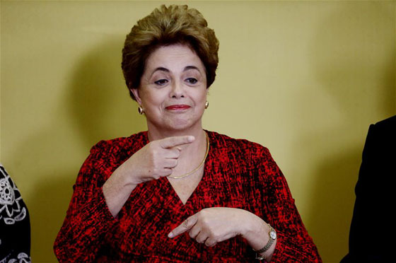 Brazil's President Dilma Rousseff reacts during a signing ceremony for new universities at Planalto Palace, in Brasilia, Brazil on May 9, 2016. [Photo/Xinhua]