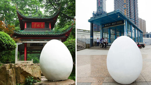 Giant egg rolls across Changsha