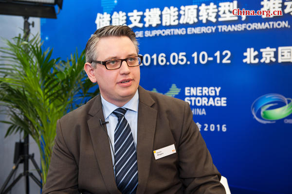 Bastian Mingers, executive team manager of Energy Storage Europe at Messer Dusseldorf in Beijing on May 10.