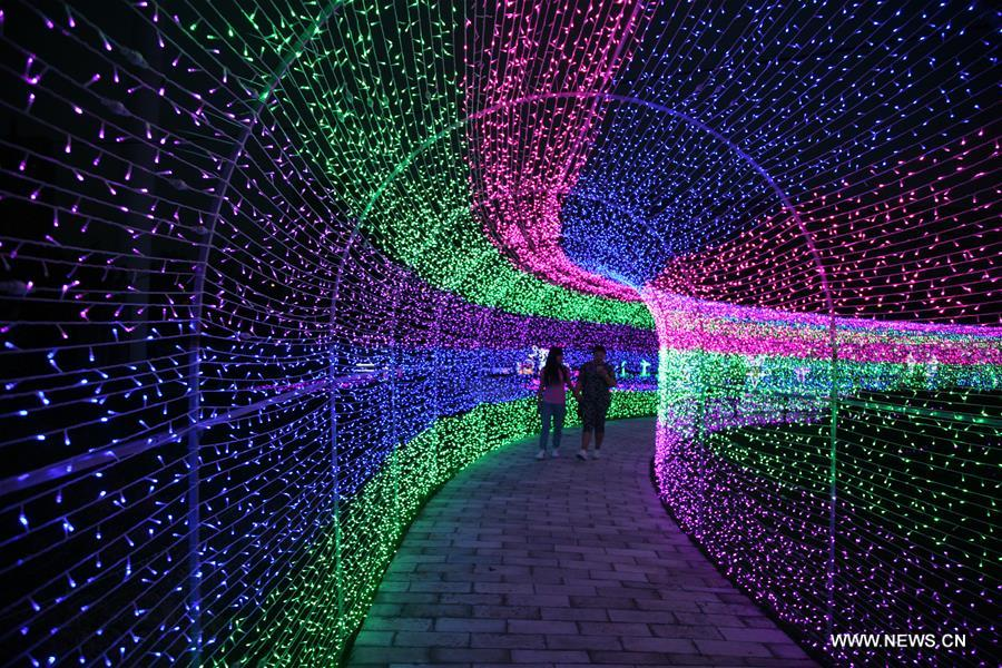 Colorful lights are displayed at an LED light festival in Linfen City north Chinau0027s Shanxi & LED light festival opens in N China- China.org.cn