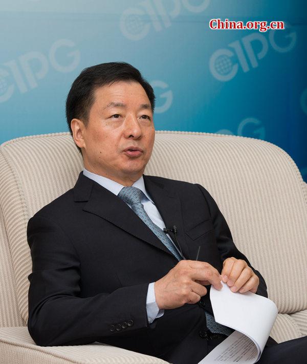 6月14日,中国外文局局长周明伟接受专访。 陈博渊 摄