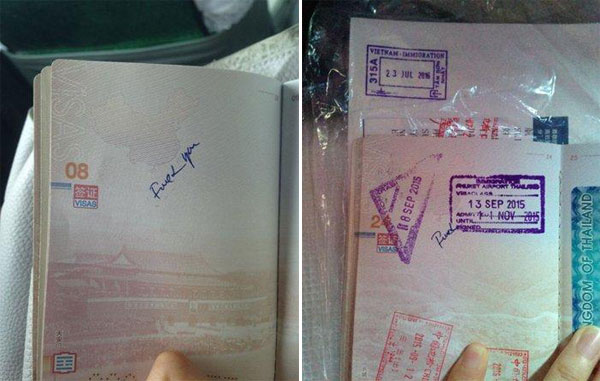 Offensive language is written on a Chinese tourist's passport on page 8 and 24 after the tourist handed over her passport to Vietnamese border staff at passport control at Tan Son Nhat International Airport. [Photo/People's Daily Online]