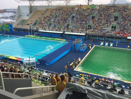 Photo Taken On August 9 2016 Shows The Green Water In Diving Pool Of