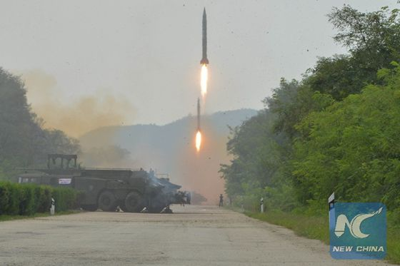 Photo provided by Korean Central News Agency (KCNA) on Sept. 6, 2016 shows a fire drill of ballistic rockets by Hwasong artillery units of the KPA Strategic Force. [Photo/Xinhua]