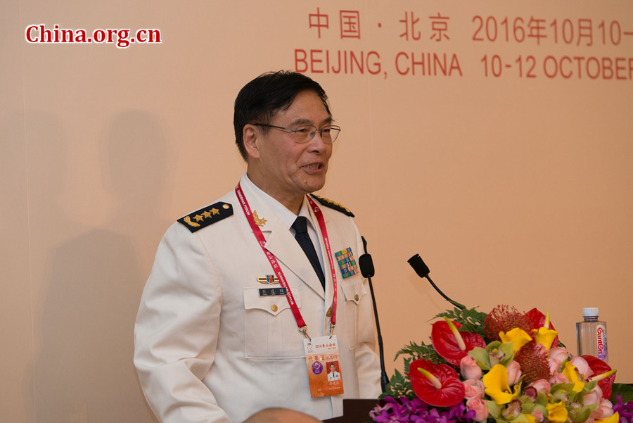Admiral Sun Jianguo, deputy chief of the Joint Staff Department of China's Central Military Commission and chairman of the China Institute for International Strategic Studies, delivers a welcome speech on Oct. 10 at the opening reception for the 7th Xiangshan Forum held in Beijing. [Photo by Chen Boyuan / China.org.cn]