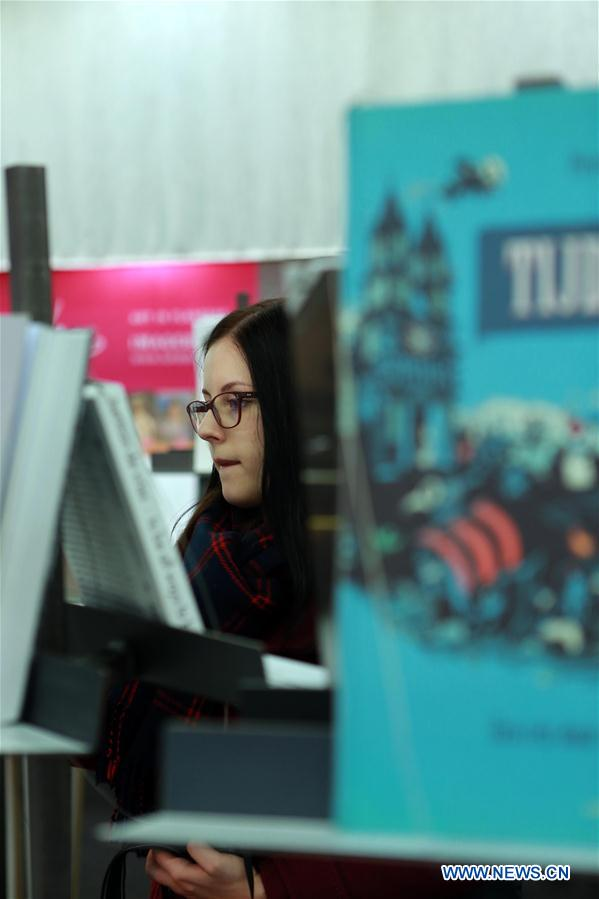 A woman visits the 'The Art+' area at the 2016 Frankfurt Book Fair in Frankfurt, Germany on Oct. 21, 2016. (Xinhua/Luo Huanhuan