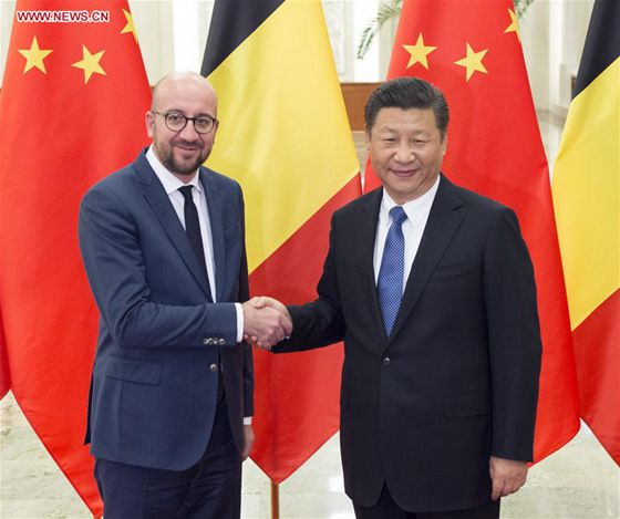 Chinese President Xi Jinping (R) meets with Belgian Prime Minister Charles Michel in Beijing, capital of China, Oct. 31, 2016. [Photo/Xinhua]
