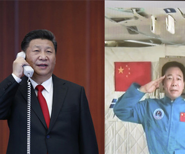 President Xi talks with astronauts in space lab