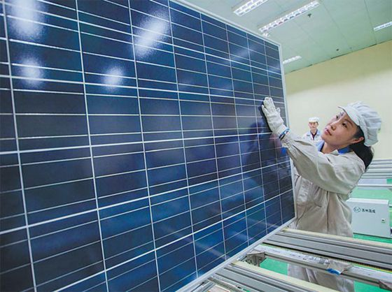 A solar panel production line in Lianyungang, Jiangsu province. [Photo/China Daily]