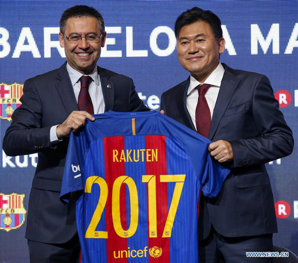 Barcelona strikes new sponsorship deal with Japan's Rakuten