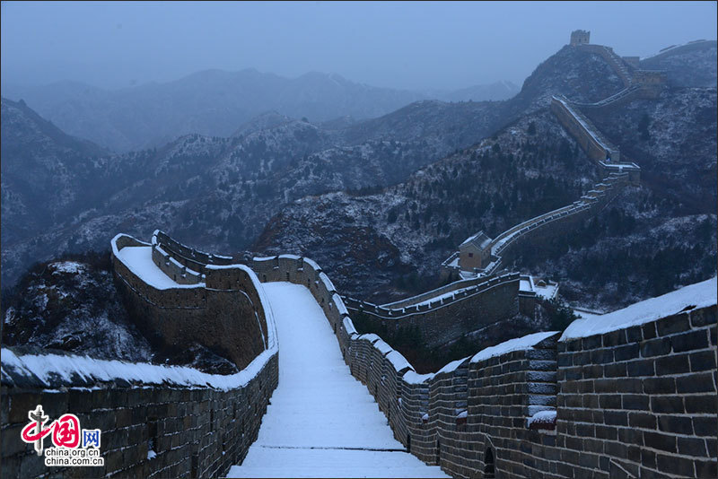 Magnificent great wall covered with snow china