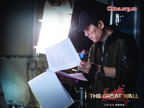 Zhang Yimou is studying the script of 'The Great Wall' in an undated photo. [Photo provided to China.org.cn]