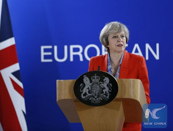 British Prime Minister Theresa May attends a press conference after the second-day's meeting of EU Summit in Brussels, Belgium, Oct. 21, 2016. [Photo/Xinhua]
