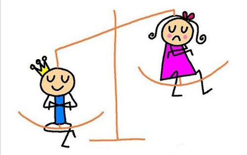 The illustration shows that many couples believe sons are better than daughters. [Photo: baidu.com]