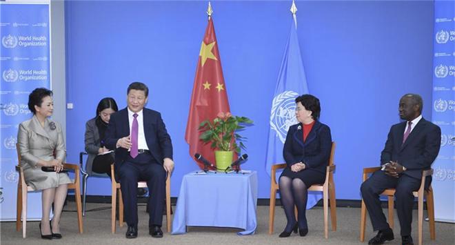 Chinese President Xi Jinping (2nd L) meets with World Health Organization (WHO) Director-General Margaret Chan (2nd R) in Geneva, Switzerland, Jan. 18, 2017. (Xinhua/Wu Xiaoling)