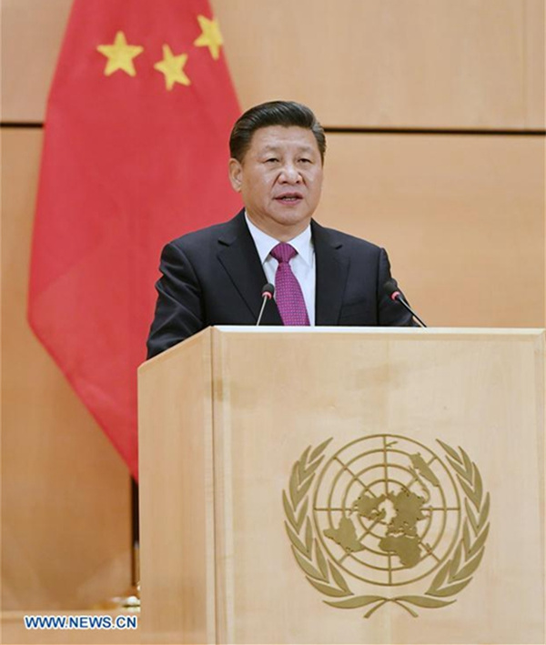 Chinese President Xi Jinping delivers a keynote speech at the United Nations Office in Geneva, Switzerland, Jan 18, 2017. [Photo/Xinhua]
