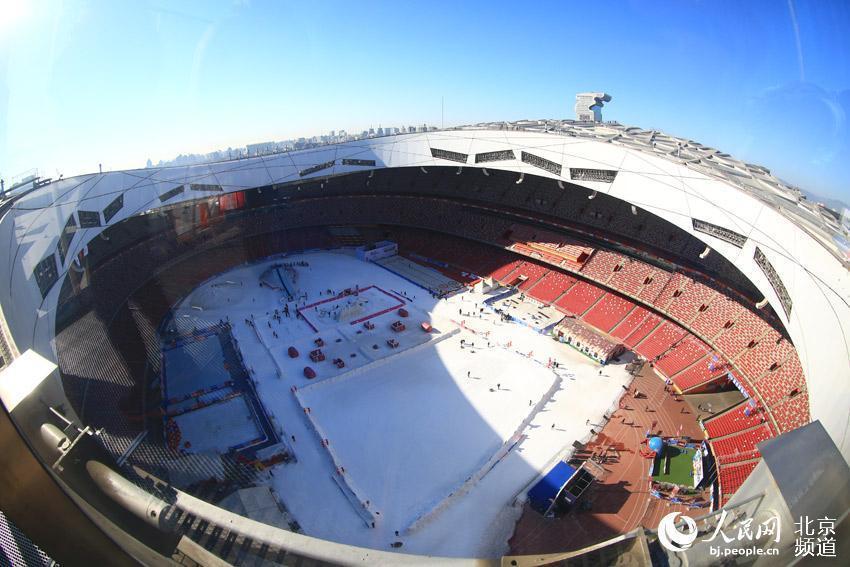 Bird's Nest stadium newly extended rooftop walkways open to