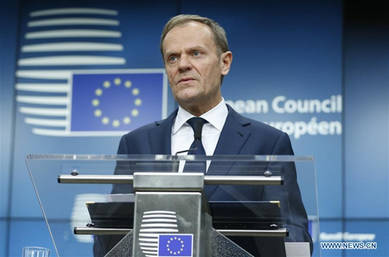 European Council President Donald Tusk addresses a press conference at the end of the first day of the European Council spring summit in Brussels Belgium