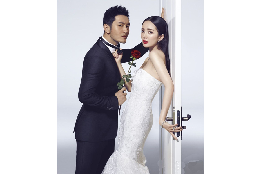 Huang Xiaoming Yang Mi Pose For Fashion Magazine