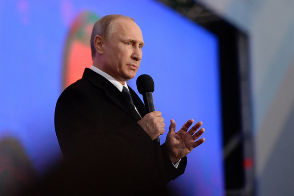 Russian President Vladimir Putin speaks at a celebration to mark the first anniversary of Crimea's incorporation into Russia, in Moscow, Russia, March 18, 2015. (Xinhua Photo)