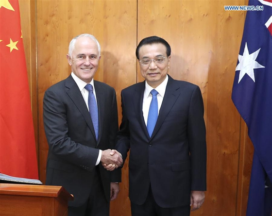 Chinese Premier Li Keqiang (R) and Australian Prime Minister Malcolm Turnbull hold talks in Canberra, Australia, March 23, 2017. [Photo/Xinhua]